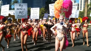 Vegas Showgirls, Caesars, protest, resort fees