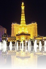Paris Las Vegas over the Bellagio Fountains