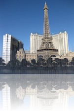 Bellagio Fountains Looking at the Paris Eiffel Tower