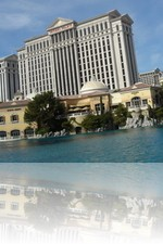 Caesars Palace with the Bellagio Fountains