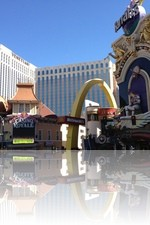 Harrahs Las Vegas next to McDonalds and the Casino Royale