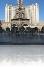 Paris Las Vegas from behind the Bellagio Fountains during the day