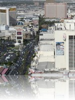 The Las Vegas Strip from the Eiffel Tower looking at The Flamingo and The Mirage